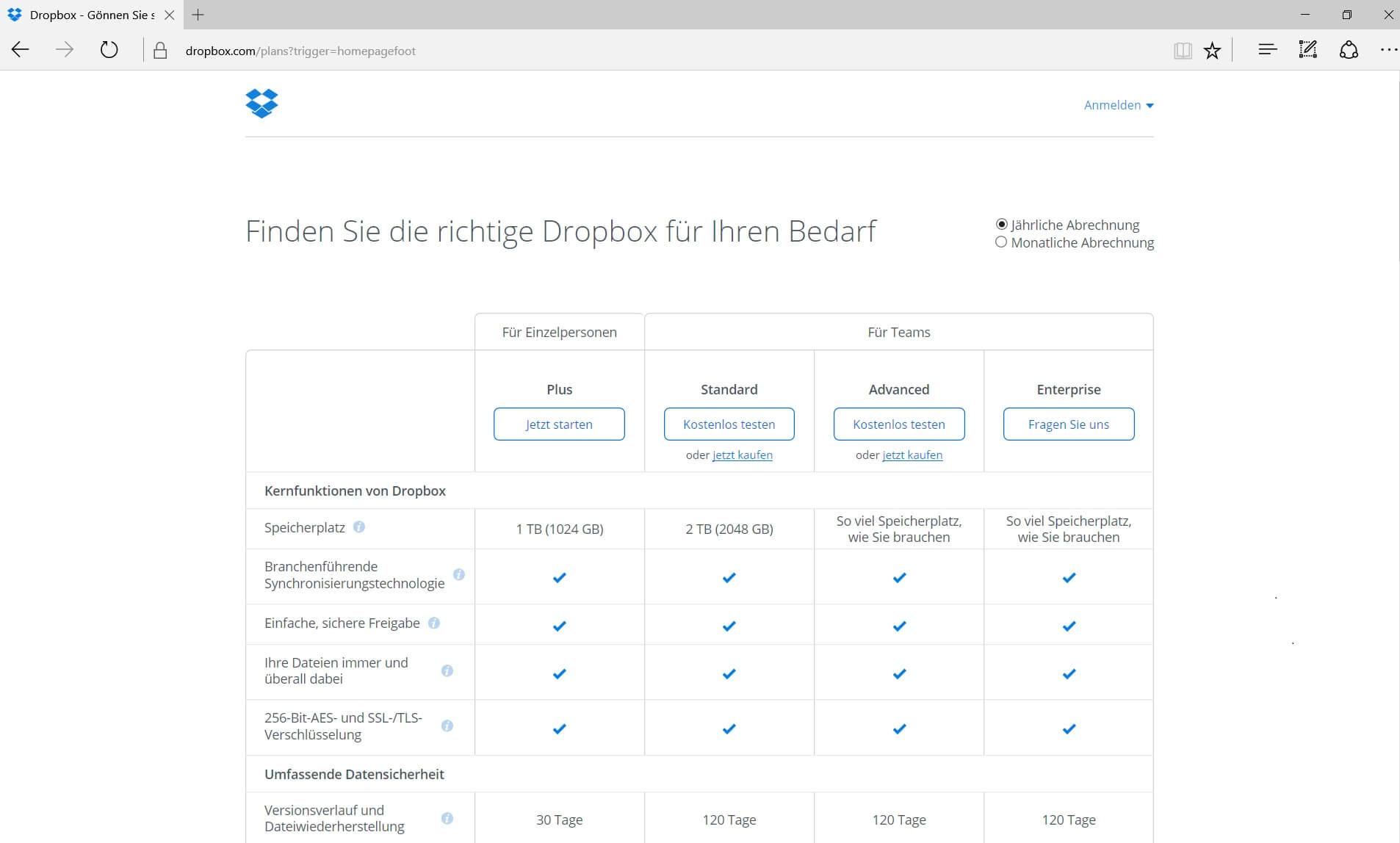 Dropbox gutes Preis- Leistungsverhältnis