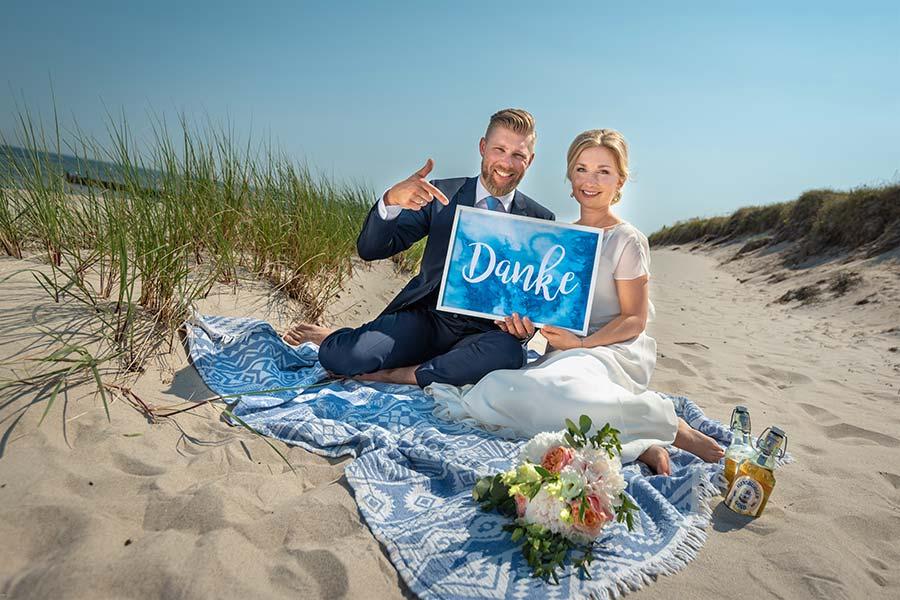 Danke-Schild - für die Hochzeitsgäste