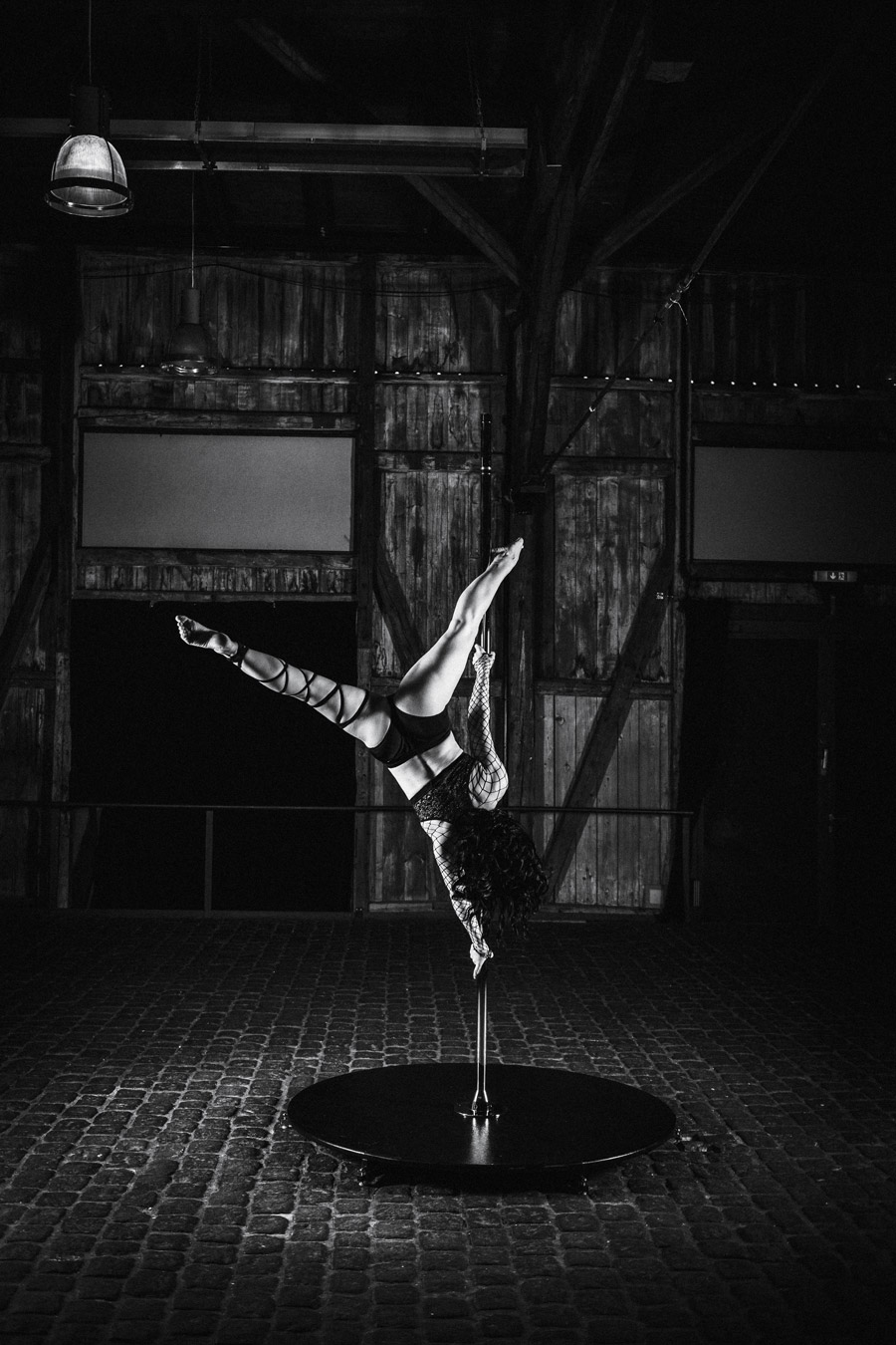 Lichtsetup beim Pole Dance Shooting